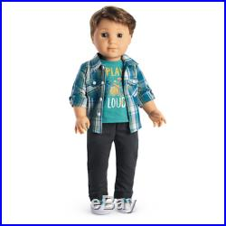 NEW IN BOXES American Girl LOGAN EVERETT 18 Tall Doll + Band PERFORMANCE OUTFIT