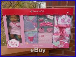 NIB American Girl Bitty Baby Set Doll Outfits Basket Accessory Medium Skin Brown