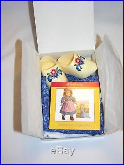 NIB American Girl Kirsten Baking Outfit with Embellished Apron, Clogs, Dress NEW