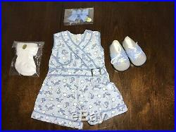 NWOB American Girl KITS PLAY SUIT OUTFIT Bunny Jumper Hair Bow Socks Shoes