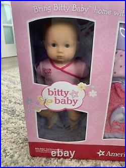 New American Girl Bitty Baby Doll & Accessories Blond Blue Eyes Outfits Bag Etc