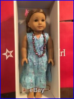 New Head American Girl Kanani Doll in Meet Outfit, Neclace flower Hospital Box