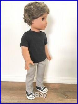 OOAK CUSTOM American Girl BOY Doll Brown Hair, Grey/Blue Eyes, Outfit Included