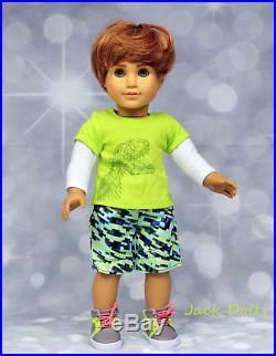 OOAK Custom American Girl BOY Doll Red Headed Freckled Green Eyes New TM Outfit