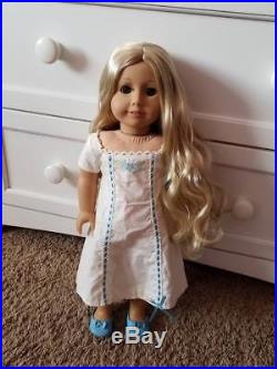 OOAK Custom American Girl Doll Caroline Hazel Eyes Blond Curly Hair + Outfits