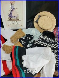 Old American Girl Kirsten Larsen with Bed, Outfits, & Books vtg LOT Pleasant Comp