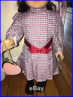 Pleasant Company / American Girl Doll Samantha Meet Outfit Book Brooch Hat Purse