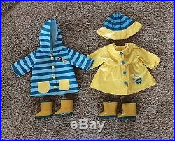RARE American Girl Bitty Baby Twins Complete Rain Coat Outfits Set + Boots & Hat