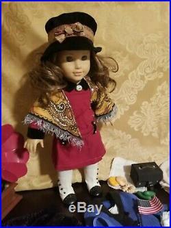 Rebecca American Girl Original Meet outfit, Coat, Menorah, Gramophone, School