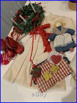 Retired American girl doll Kirsten with trunk, outfits, furniture, accessories
