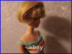 Vintage Barbie American Girl Doll Bend Leg Midge 1958 Blonde with Outfit & Stand